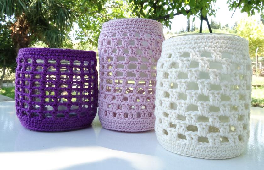 Φαναράκια: πώς να πλέξουμε καλύμματα για γυάλινα βαζάκια